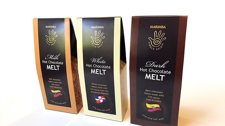 Marimba hot chocolate melt packaging design for different chocolates with a gold foil finish