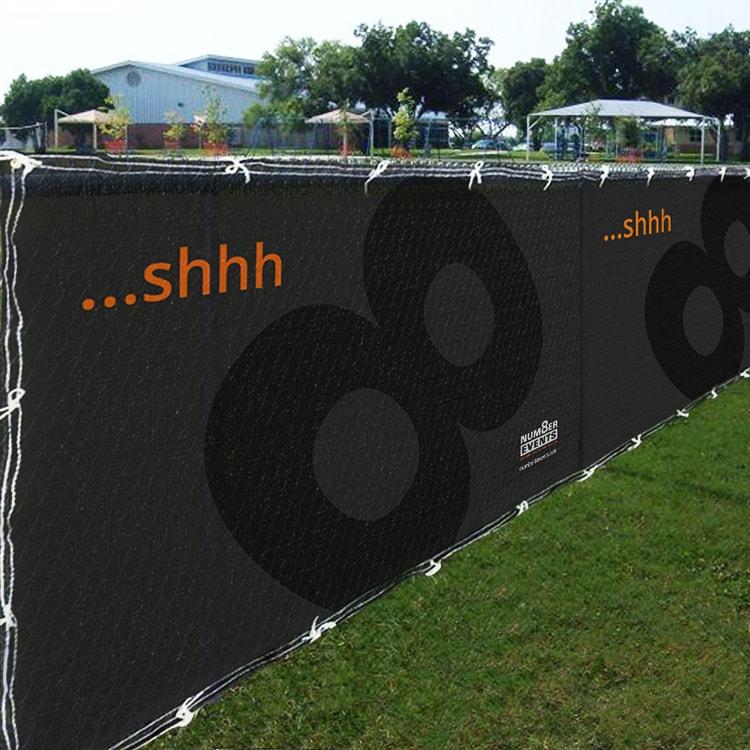Number 8 Events exhibition design 'shhh..' heras fence banner design