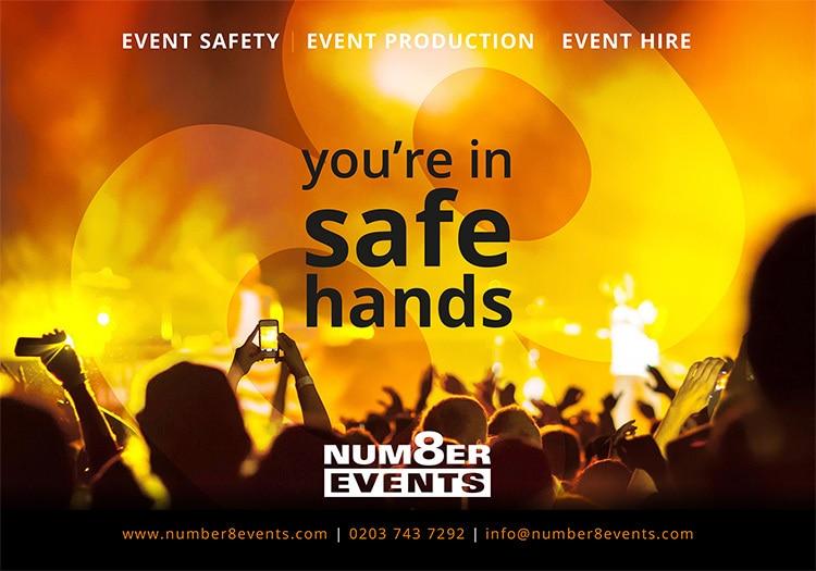 Half-page advert artwork for Number 8 Events promotion design