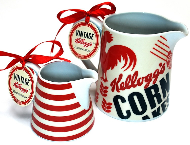 Close up of Vintage Kellogs milk jugs photography for Pink Key