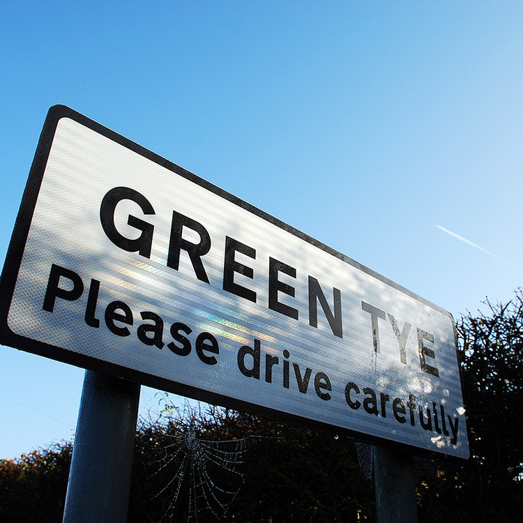 Perspective shot of the Green Tye sign