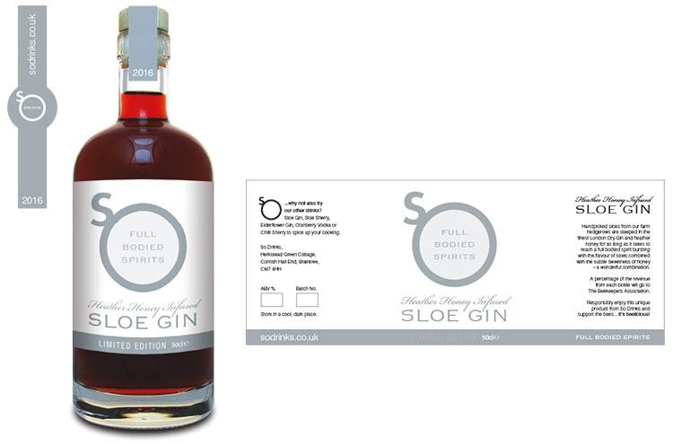 Sloe Gin bottle with flat label artwork design for So Drinks