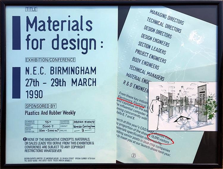 Leaflet print design for Materials for Design Exhibition
