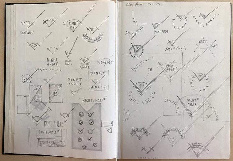 Design and development sketches of Right Angle Creative branding design