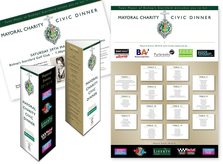 Table talkers and A5 postcards Print design for Mayoral Charity Civic Dinner