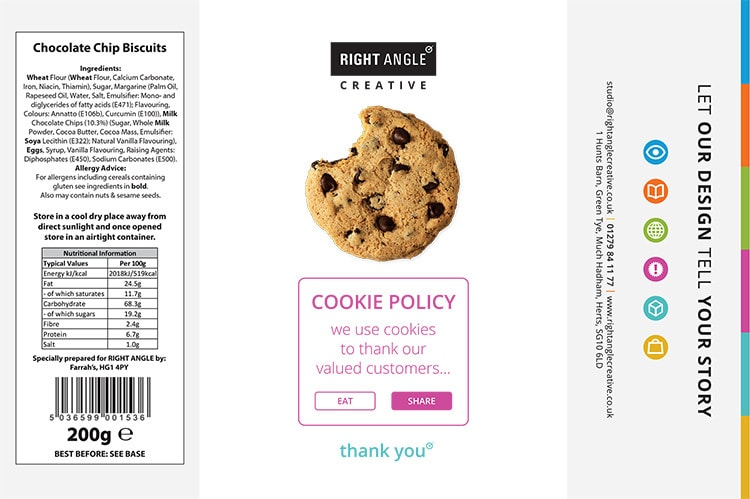 Right Angle Creative Branded cookie labels artwork flat