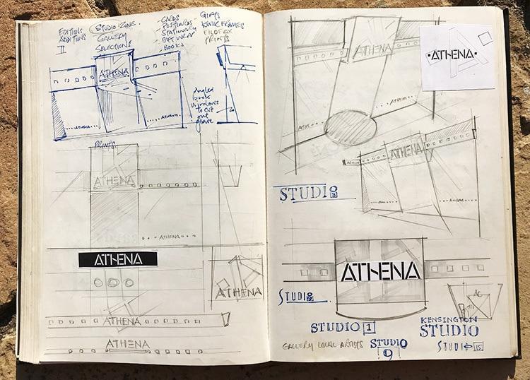 Development sketches of Athena shop front retail design