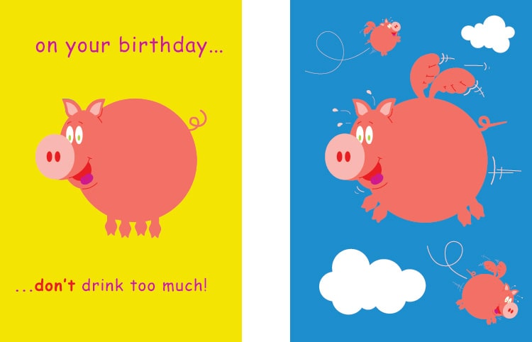 Cut Above Pigs Will Fly Greetings Cards for Paper D'Art