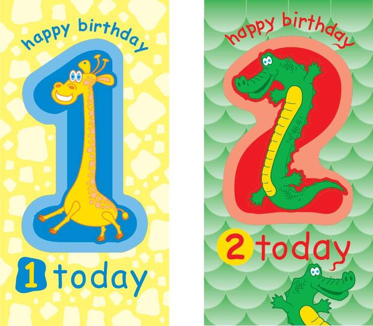 Greeting Card designs - Ages 1 & 2 for Paper D'Art