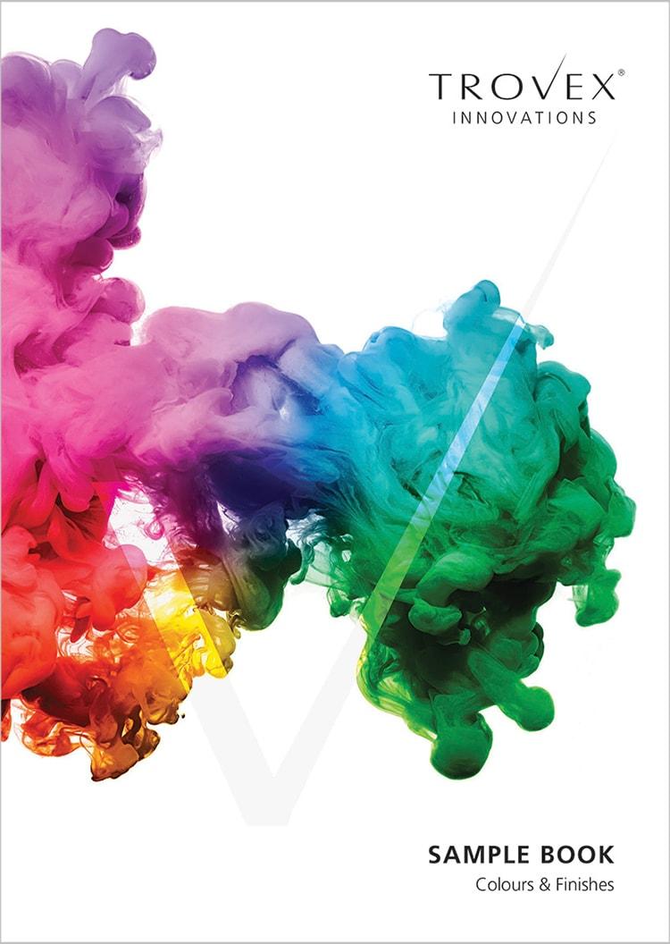 Coloured ink splatter front cover design for Trovex Innovations sample book