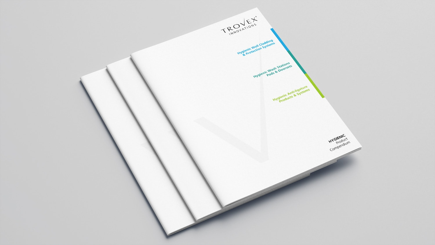 Stacks of Trovex Innovations brochure print design, showing the front cover