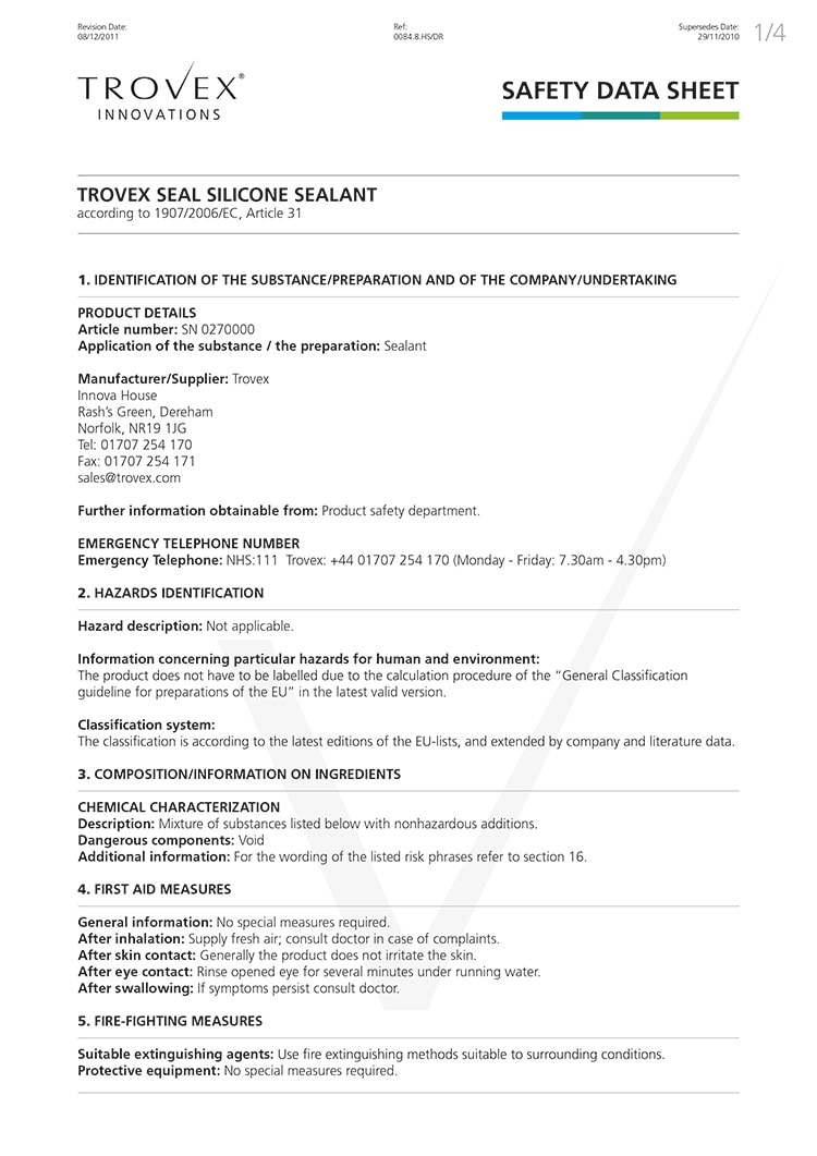 Flat artwork for Trovex Innovations Data Sheet print design