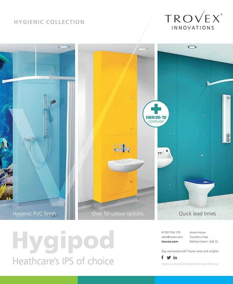 Flat artwork for Trovex Innovations RIBA leaflet advert print design