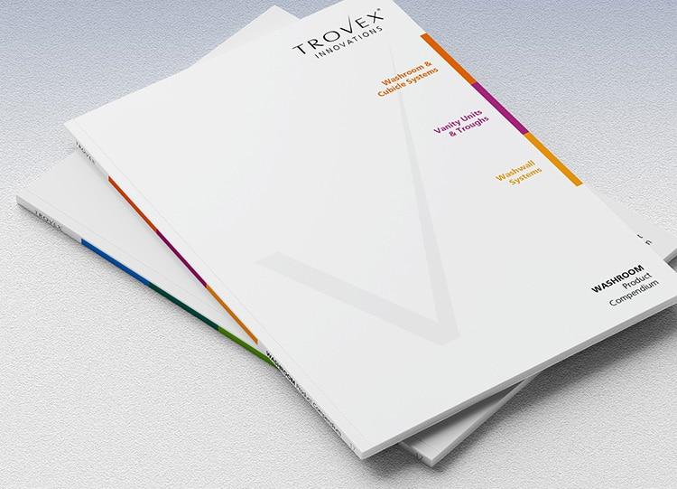 Front cover of Trovex washroom compendium brochure design